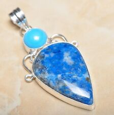 "Handmade Pyrite Lapis Lazuli Jasper 925 Sterling Silver 2.5"" Pendant #P10971"