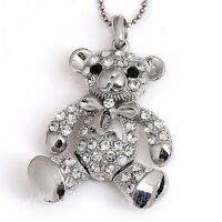 1x Fashion Women Silver Plated Clear Crystal Bear Bead Pendant Fit Necklace Gift