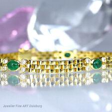 Armband 750/- Gelbgold glänzend mit 5 Smargaden und 20 Diamanten 0,20 ct. W/SI