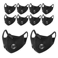 10x Wiederverwendbar Mundschutz Schutzmaske Atemschutz Filter mit Ventil schwarz