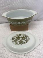 Vintage Pyrex Verde Olive Green 043 Casserole Dish with lid. 1.5 QT.