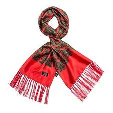 Tootal Vintage Estampado Cachemira Seda Bufanda en Brillante Rojo Rojo Retro Mod