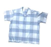 VTG National Big Check Plaid S/S Camp Collar Shirt Mod Disco 70s Men's XL