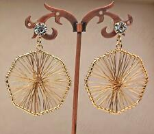 """18K Gold Filled 2.4"""" Earring Abstract Bicycle Axle Unique Eardrop Women Party DS"""