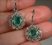 Green Emerald 925 Sterling Silver Vintage Style Brilliant-cut Halo CZ Earrings