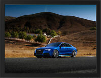 BLUE AUDI RS5 SPORTS CAR NEW A3 FRAMED PHOTOGRAPHIC PRINT POSTER