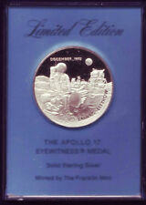 APOLLO 17 EYEWITNESS MEDAL Solid Sterling Silver
