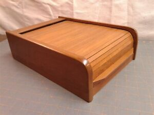 Vintage Danish Modern Teak Roll Top Tambour Cassette Tape Box Dual Compartments