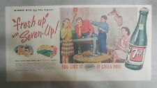 "7-Up Ad: The ""All"" Family Drink ! Table Tennis from 1950's  7.5 x 15 inches"