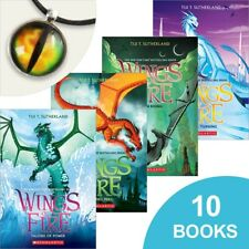 Set of 10 NEW AND SEALED Wings of Fire Books plus cool dragon necklace!