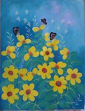Haitian Folk art painting famous artist Aland Estime Flowers Bouquet Haiti 30x40