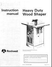 Delta HD Wood Shaper Instructions Manual & Parts List PDF