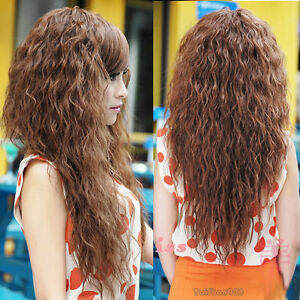 Hot Sell New Fashion Long Brown Wavy Women's Lady's Cosplay Hair Wig Wigs + Cap