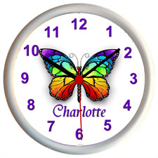 Personalised BUTTERFLY Girls Bedroom Wall Clock