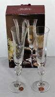 MIB Gorham Wedding Couple Champagne Glass Set of 2 Fluted Heart Crystal Glasses
