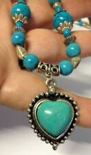 Turquoise Blue Bead Heart Pendant Necklace Free Post