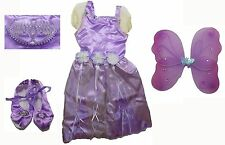 Girls Age 3+ Purple Fairy Dress Up Halloween Costume with Wings Tiara Shoes NEW