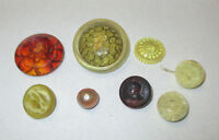 8 CLEAR COLORED VINTAGE ETCHED PLASTIC BUTTONS  ***