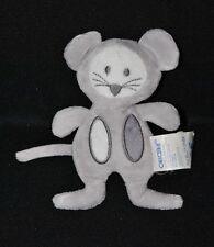 Peluche doudou souris gris OBAIBI OKAIDI mauve violet hochet grelot 14 cm TTBE