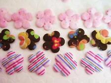 60 Mix Dots+Floral+Stripe Print Fabric Flower Applique/trim/3 Design/sewing H355