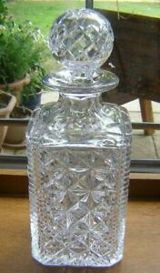BEAUTIFULL HEAVY CRYSTAL WHISKY/SPRIT DECANTER WITH BALL STOPPER 26.4CM UNUSED