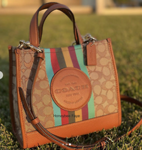 NWT Coach Dempsey Tote 22 In Signature Jacquard With Stripe And Coach Patch