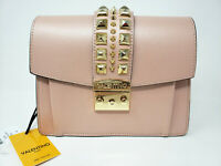 Mario Valentino Pink Rose Leather Adin Palmellato Shoulder Bag Rockstud Studded