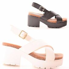 LADIES WOMENS SUMMER CHUNKY HEEL SANDAL FASHION CASUAL STYLE HOLIDAY SHOES SIZE