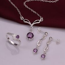 925 Silver plated Purple Crystal Geometry Earrings Rings Necklace Jewelry Sets