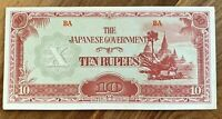 1942 BURMA JAPAN WWII 10 RUPEES BANKNOTE UNC Cond!