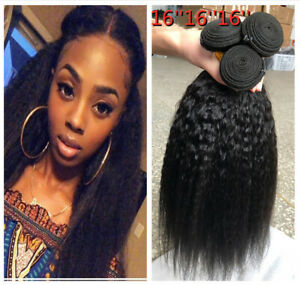 "Kinky Straight 3 Bundles Yaki Straight Human Hair Extensions Weave Weft 150G 16"""