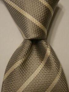 BRIONI Men's 100% Silk XL Necktie ITALY Luxury Designer STRIPED Gray/White EUC