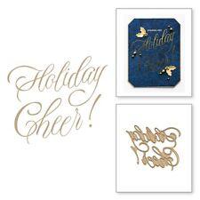 Holiday Cheer HOT FOIL PLATE Silver Metal Cutting Dies DIY Cards Scarpbooking