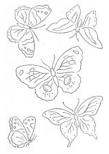 Vintage Visage iron on embroidery transfer 5 pretty Butterflies- 2 sheets A4