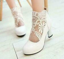 Women High Block Heels Sexy Hollow Out Lace Ankle Boots Wedding Dress Shoes US8