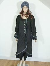Hebbeding en Coton Noir Lagenlook robe / manteau cintrée avec détails volantée taille 1