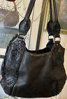 BRIGHTON MELANIA Black LACE Organizer Lavish LACED Leather Lg HOBO Shoulder Bag