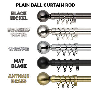 Extendable Metal Curtain Pole 28mm Plain Ball With Finials Rings Rod Fittings