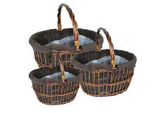 Basket Cloth C/Handle S/3 Containers Wooden for Furniture and Composers
