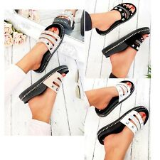 Womens Ladies Sliders Slip On Slides Wedge Platform Studded Beach Summer Sandals
