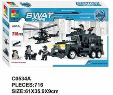 Woma SWAT Polizei Spezialeinheit Truck Heli 7 Fig Bausteine Set 716 Teile C0534A