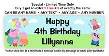 Birthday Party Banner Hanging Sign Peppa Pig Family Theme - Personalised Poster