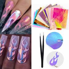 16Pcs Lámina de Adhesivos Holográficos tira de uñas de llama auto-adhesivo uñas de las decoraciones de cinta