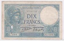 BILLET 10 FRANCS MINERVE Q 14 1 1925 Q 786 N 17376