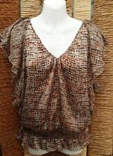 JASPER CONRAN Ladies Brown Floral Short Sleeve Silky Blouse Top Size 12
