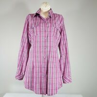 WOOLRICH Womens Purple Plaid Long Sleeve Button Up Western Shirt Size S/Small