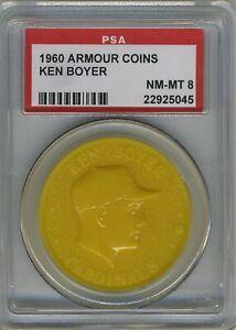 1960 Armour Coins (Yellow) Ken BOYER (Cardinals)  PSA 8 NM/MT