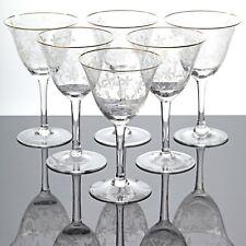 6 Weingläser Spiegelau Rüdesheim Goldrand Weinlaub Ätzdekor Glas 50er Vintage
