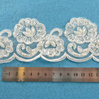 1 METRE CREAM / IVORY BEADED LACE BRIDAL TRIM TRIMMINGS 62mm WIDTH HL1057