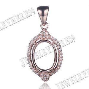 OVAL CUT 8X10MM GENUINE DIAMOND SETTING SEMI PENDANT MOUNT Solid 14K Rose Gold